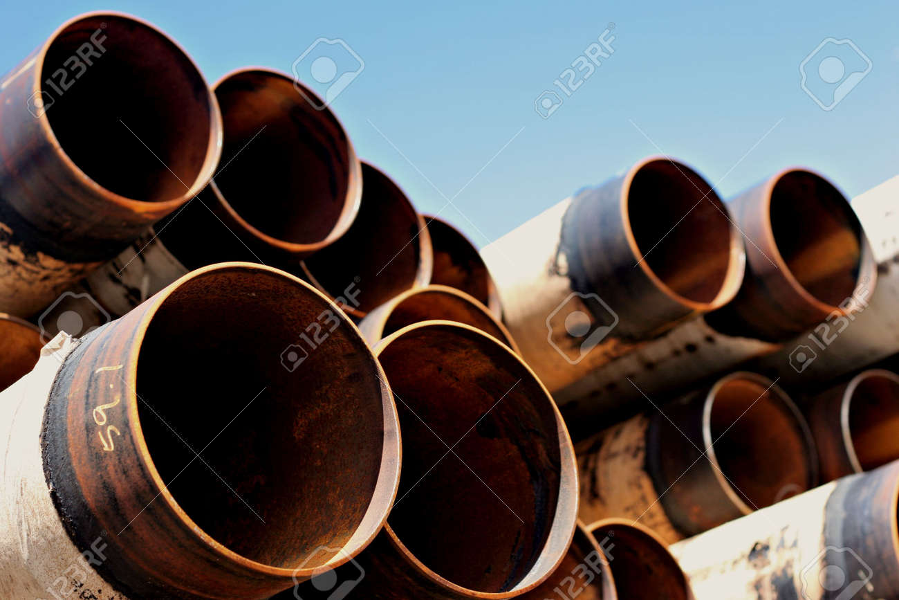steel pipes against blue sky Stock Photo - 217838