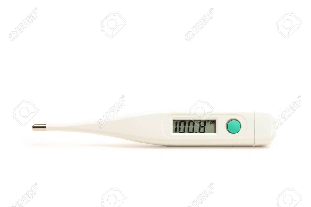 fever thermometer - white digital thermometer with slight texture, showing  fever of 100.8 degrees fahrenheit