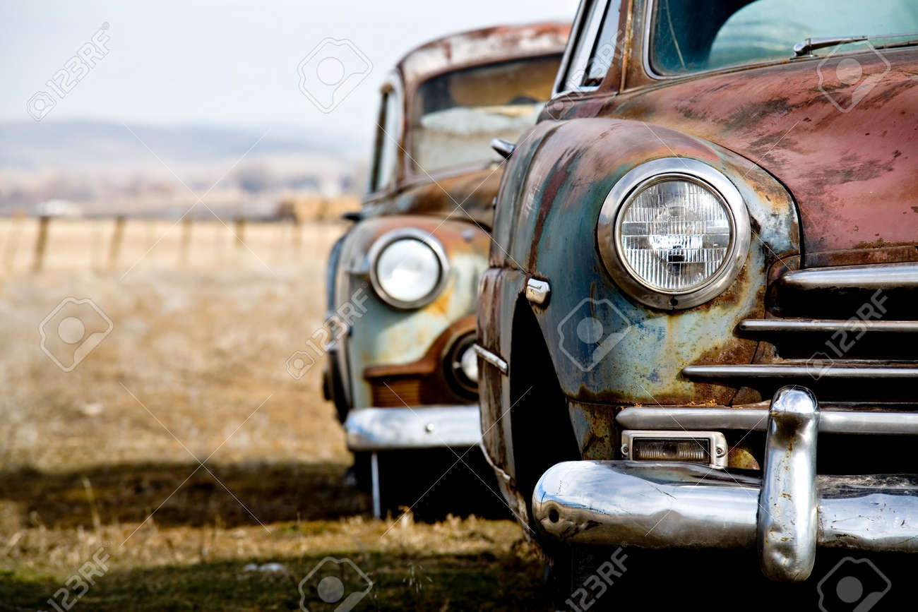 Vintage Car - Two Abandoned Vintage Cars In Rural Wyoming Stock ...