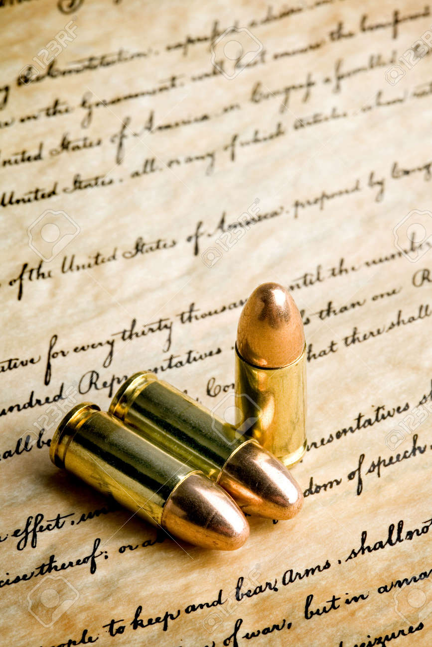 bullets on the bill of rights - the right to bear arms. macro with limited dof, focus on tips and Stock Photo - 839931