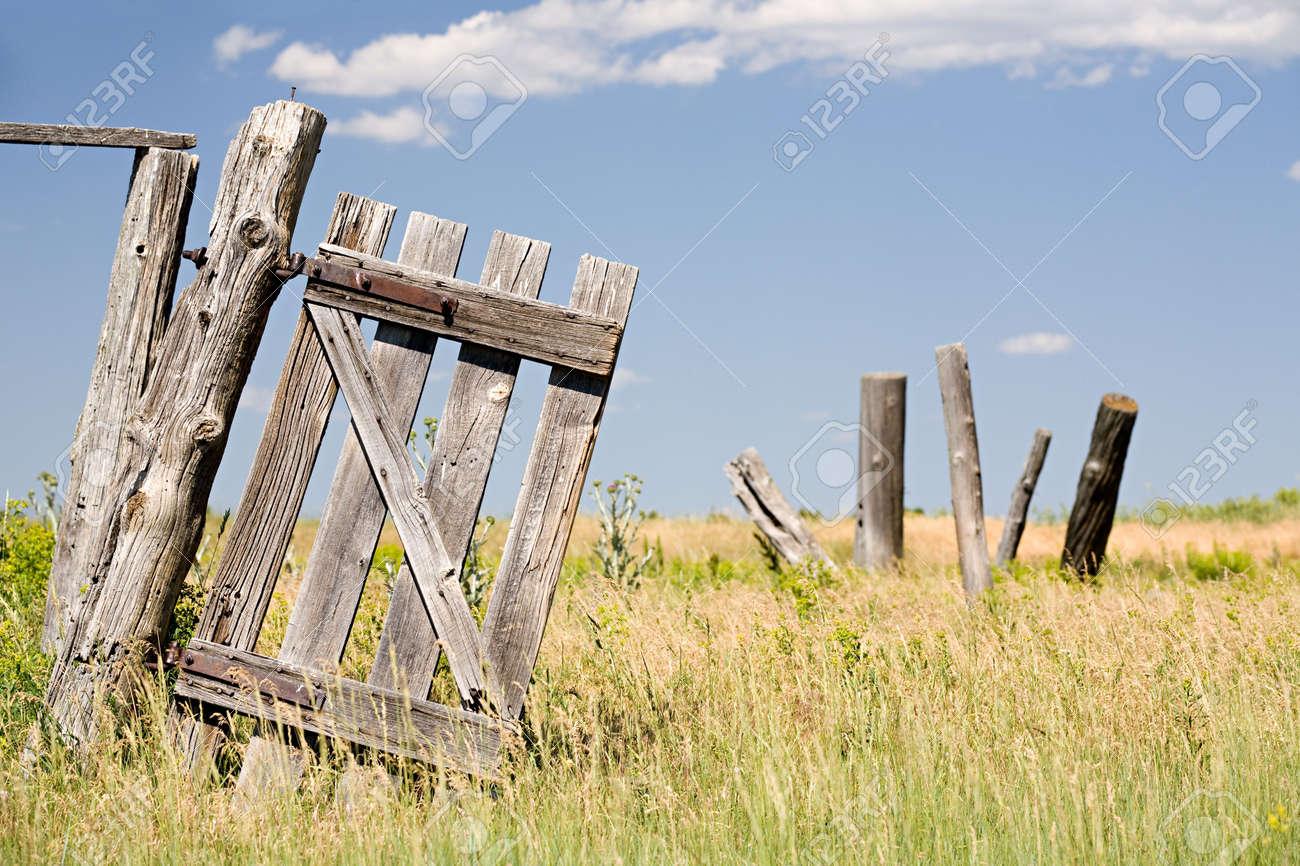 old broken fence door hangs crooked on a post Stock Photo - 3535051 & Old Broken Fence Door Hangs Crooked On A Post Stock Photo Picture ...