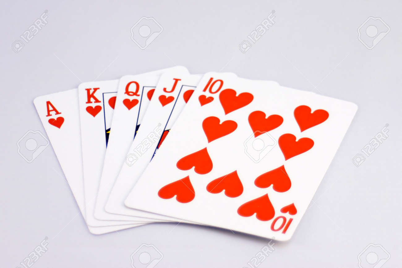 Straight Royal Flush of Hearts Stock Photo - 297364