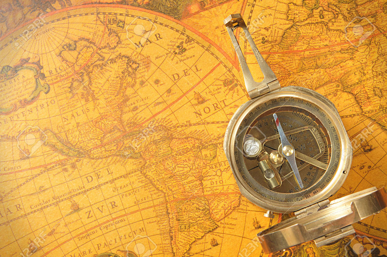 Old-age Compass On Antique World Map Stock Photo, Picture And ...
