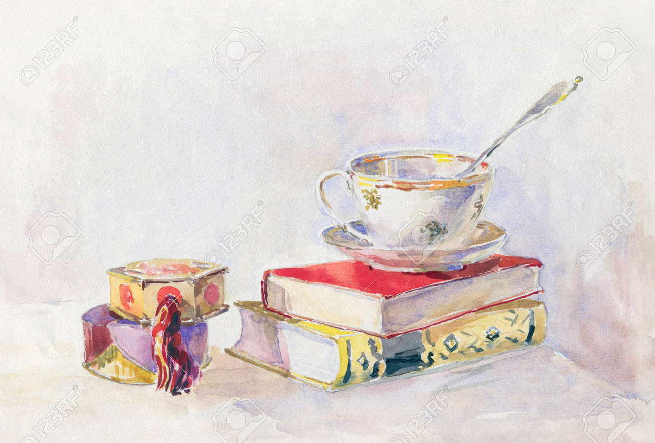 Still Life In Retro Style. Two Books Tea Cup And Powder Box... Stock ...