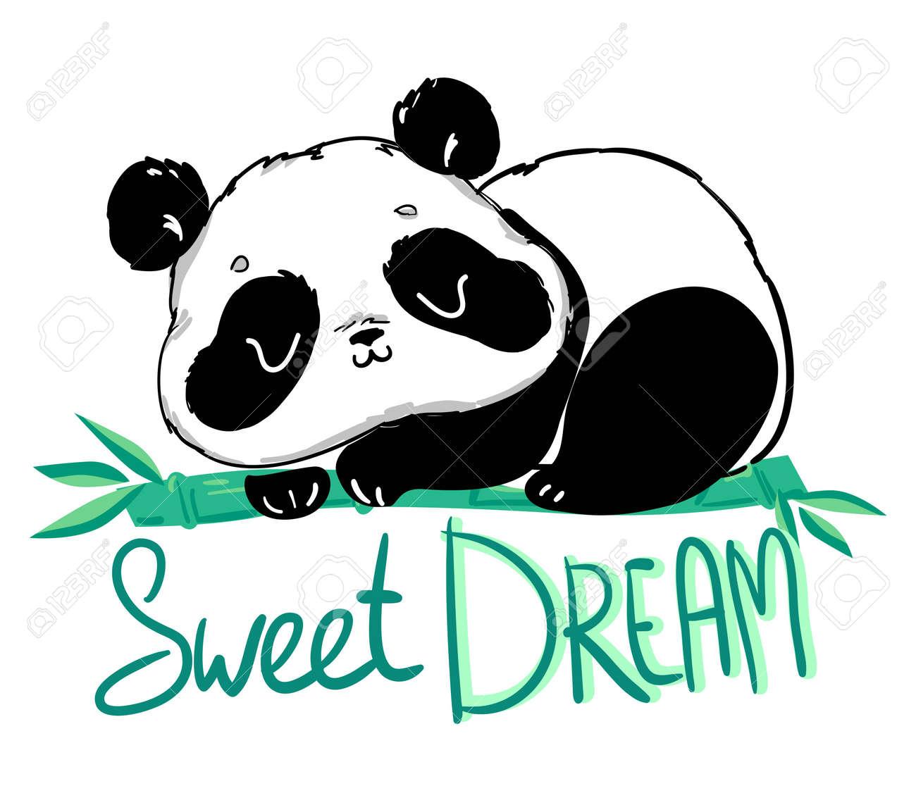 Cute Panda sitting on the bamboo. Handwritten - Sweet dream. illustration. - 143071861