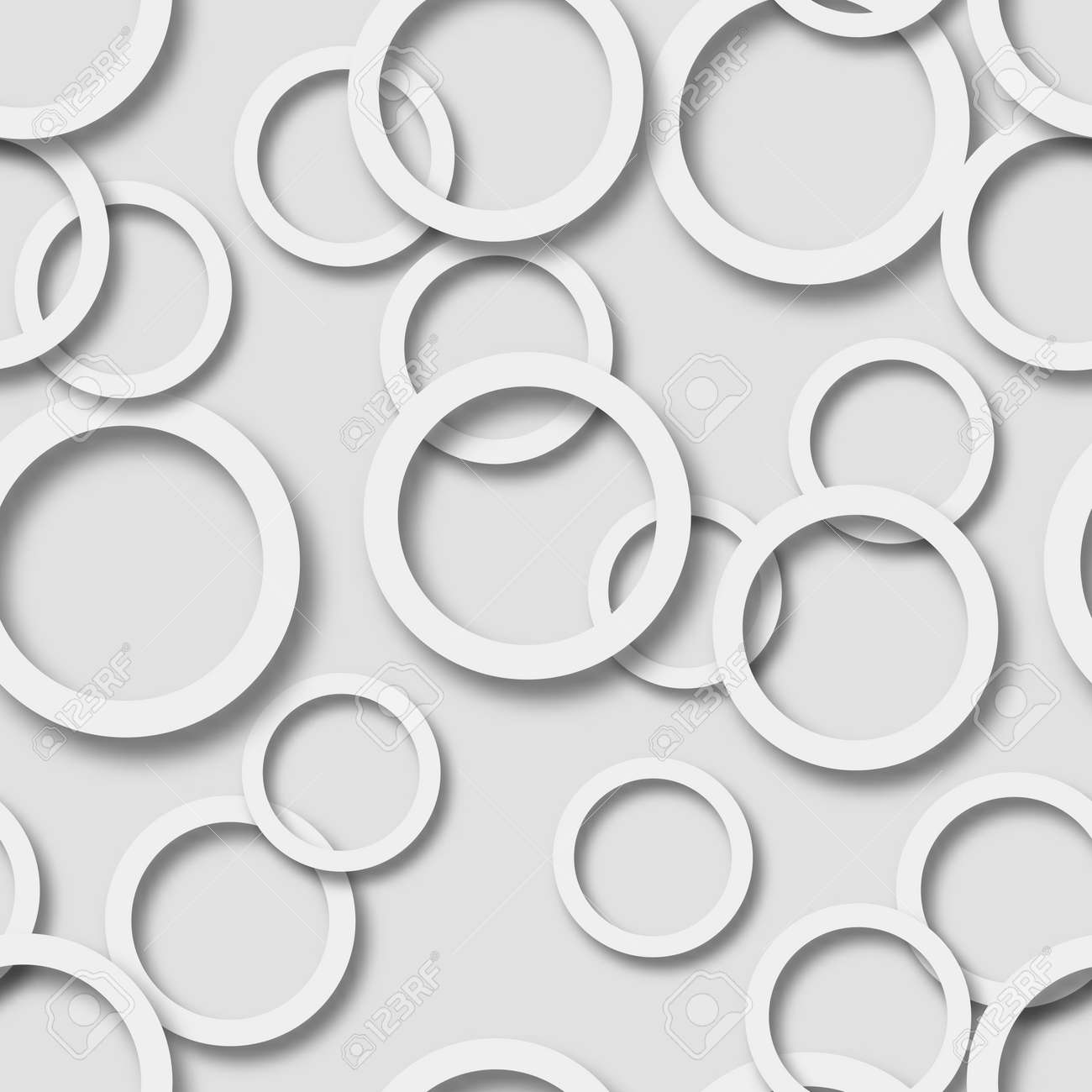 Abstract seamless pattern of randomly arranged white rings with soft shadows on gray background - 121810944
