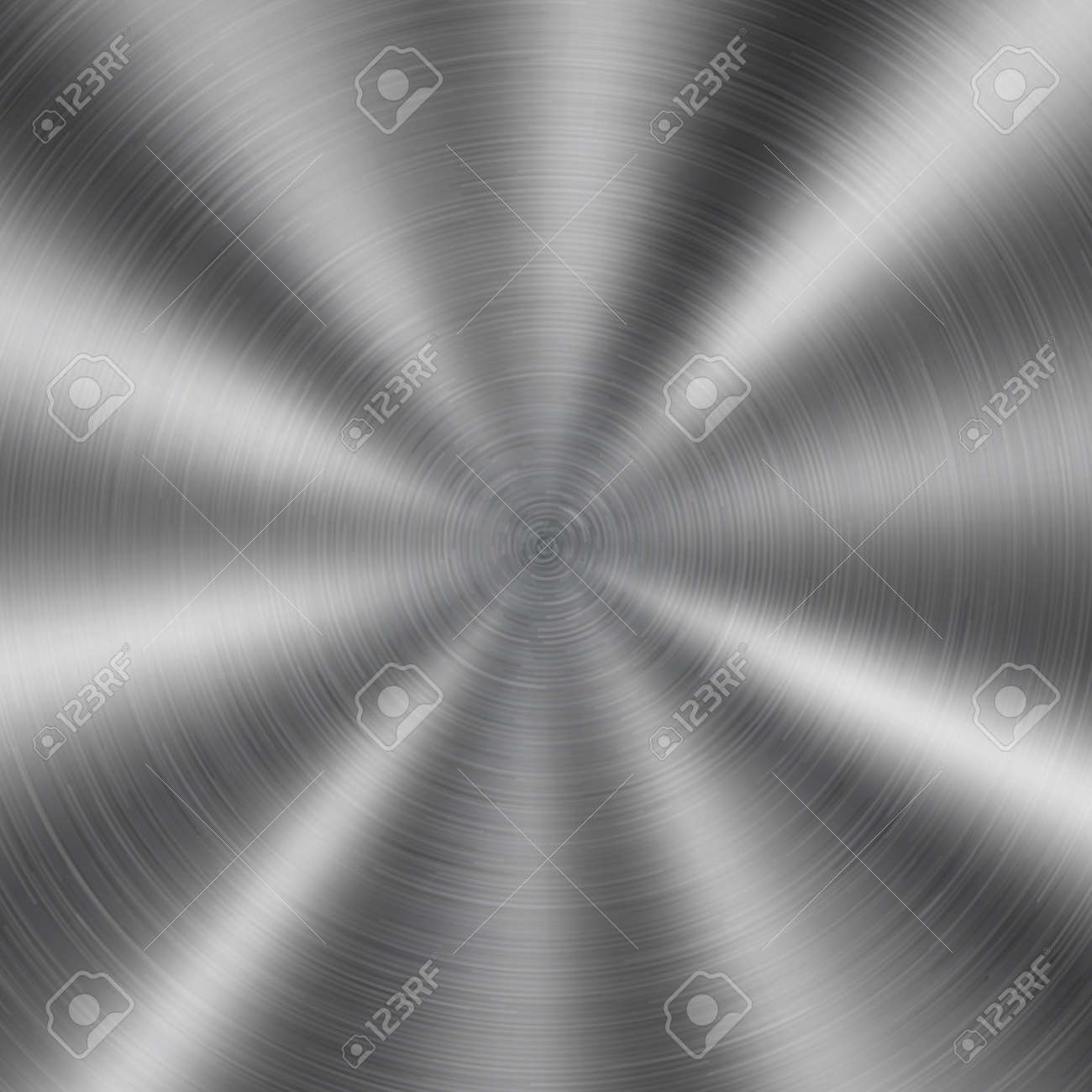 Abstract shiny metal background with circular brushed texture in silver color - 134570469