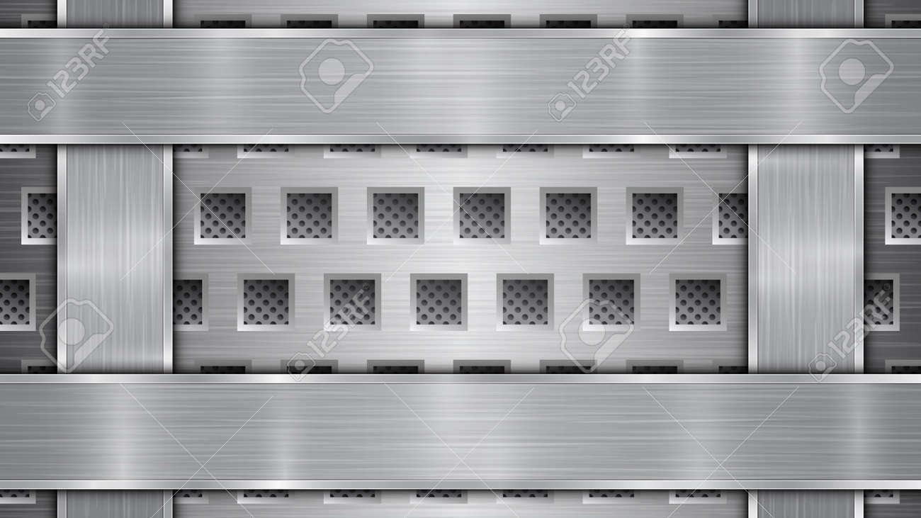 Background in silver and gray colors, consisting of a perforated metallic surface with holes and vertical and horizontal polished plates located on four sides, with a metal texture and shiny edges - 139413400