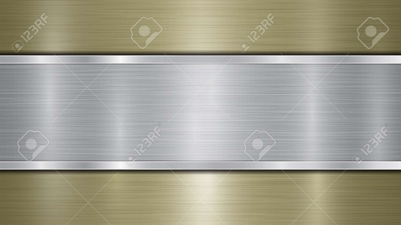Background consisting of a golden shiny metallic surface and one horizontal polished silver plate located centrally, with a metal texture, glares and burnished edges - 142982627