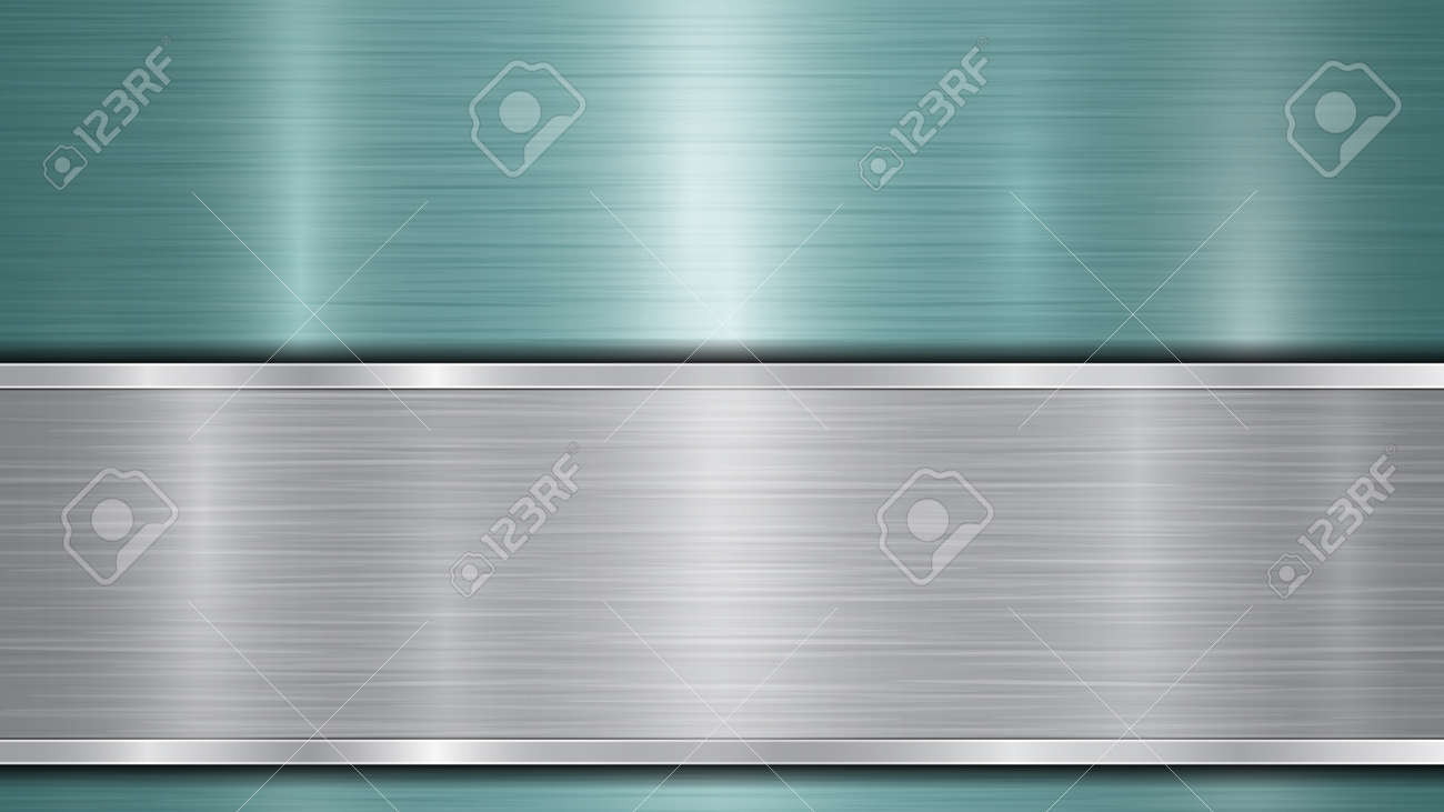 Background consisting of a light blue shiny metallic surface and one horizontal polished silver plate located below, with a metal texture, glares and burnished edges - 143820038