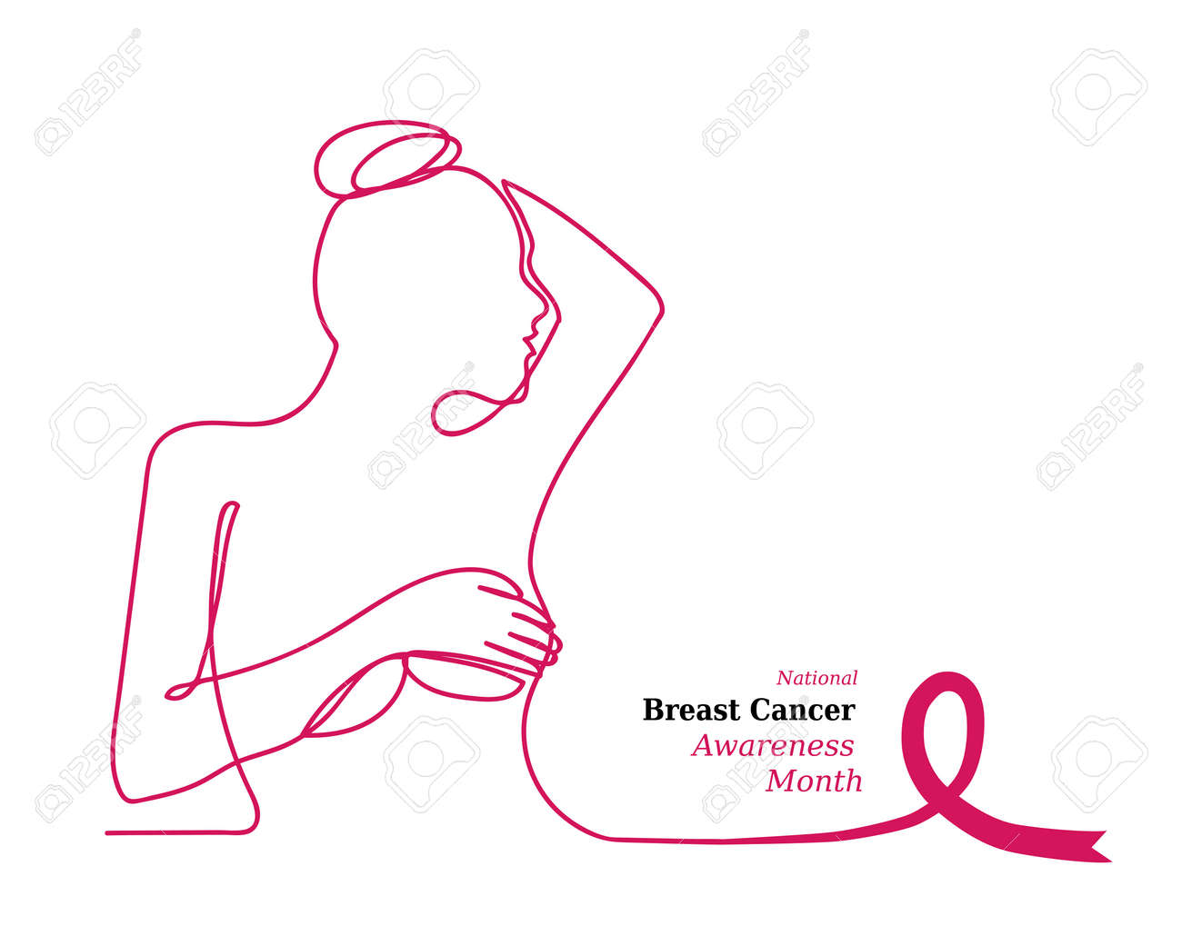 Pink Ribbon Womens Breast Outline Vector Illustration One Line