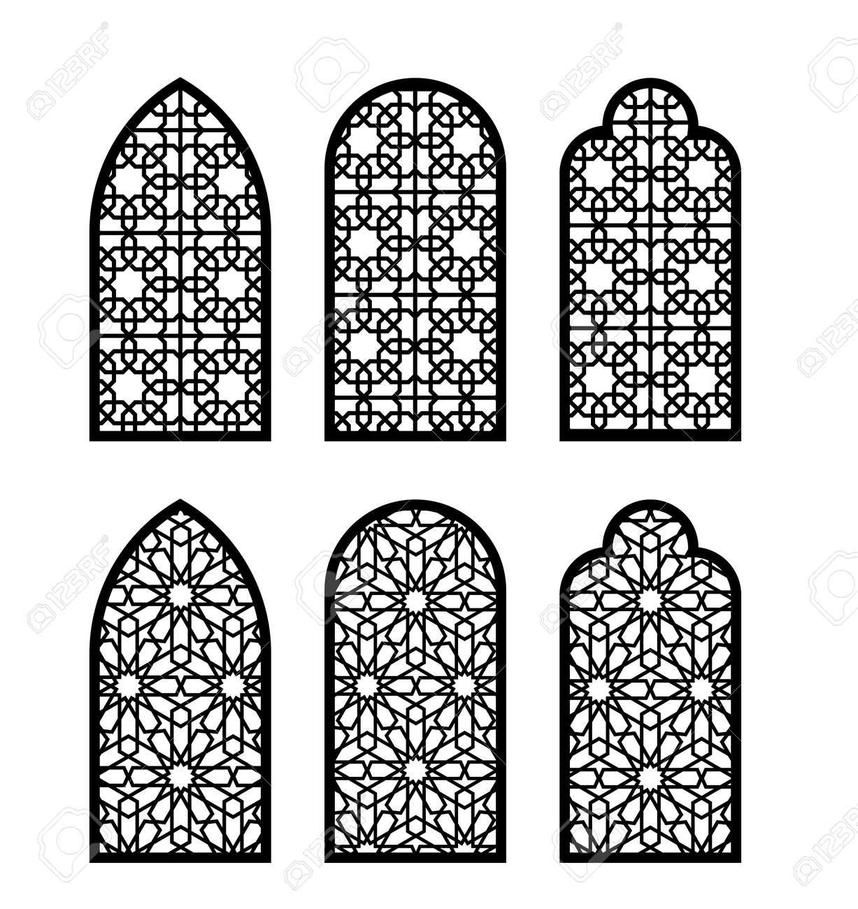 Arabesque arch window or door set. Cnc pattern, laser cutting, vector template set for wall decor, hanging, stencil, engraving. - 146471329