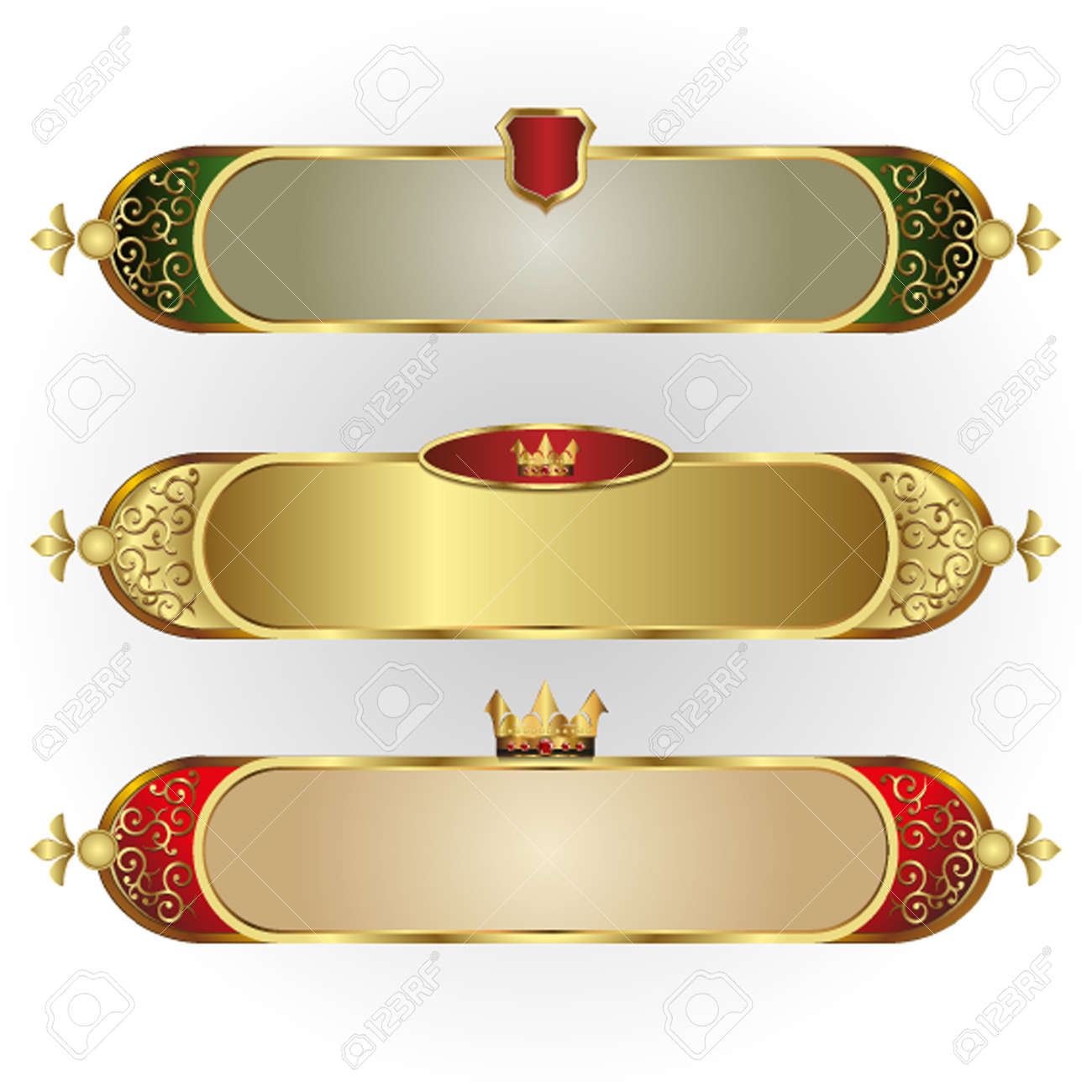 Vector Set Of Frames Oblong Shape With A Gold Rim, Crown, And ...