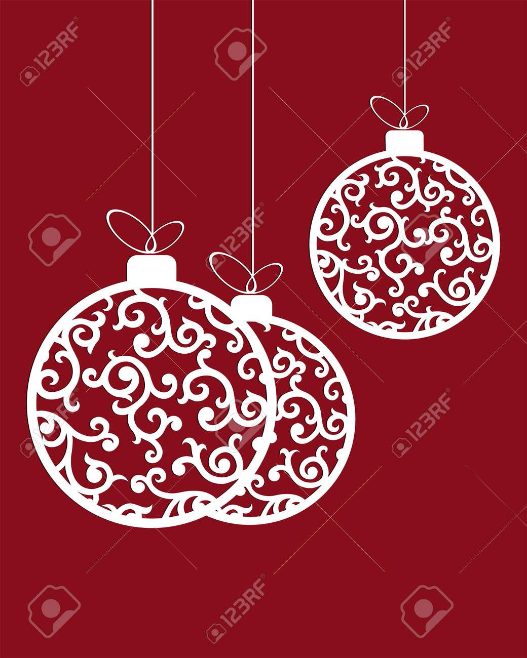 Immagini Di Palline Di Natale.Un Set Di Palline Di Natale Di Colore Bianco Riempito Di Modelli In Stile Retro