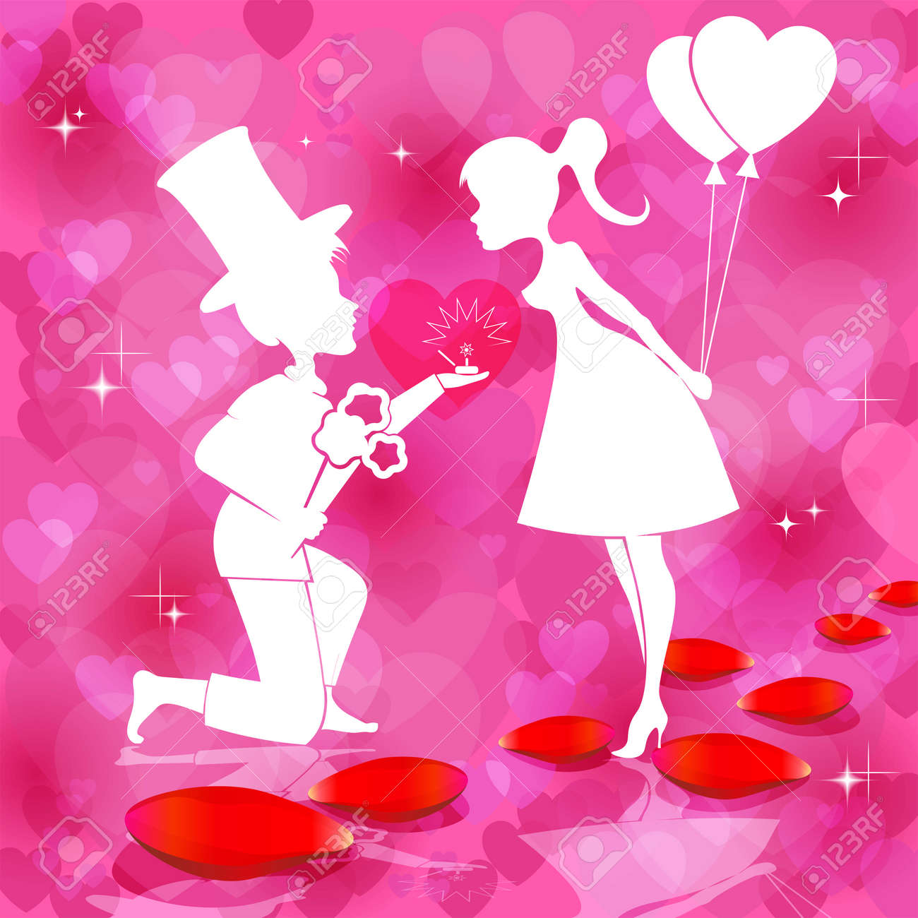 Romantic Red Background With Silhouettes Of Couples In Love ...