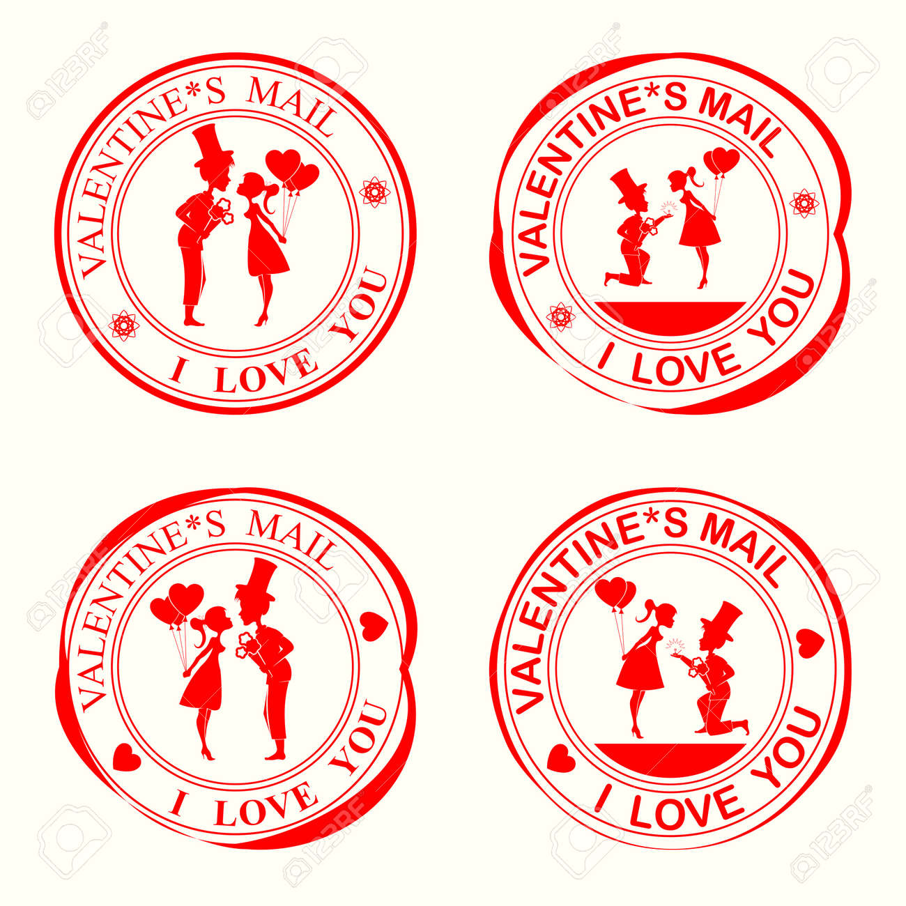 A Set Of Stamps With Silhouettes Of Lovers,the Girl And The Guy ...
