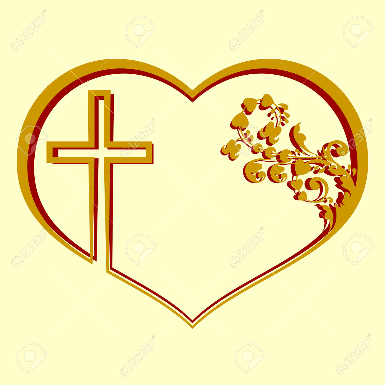 silhouette of heart with a cross and pattern stock photo picture