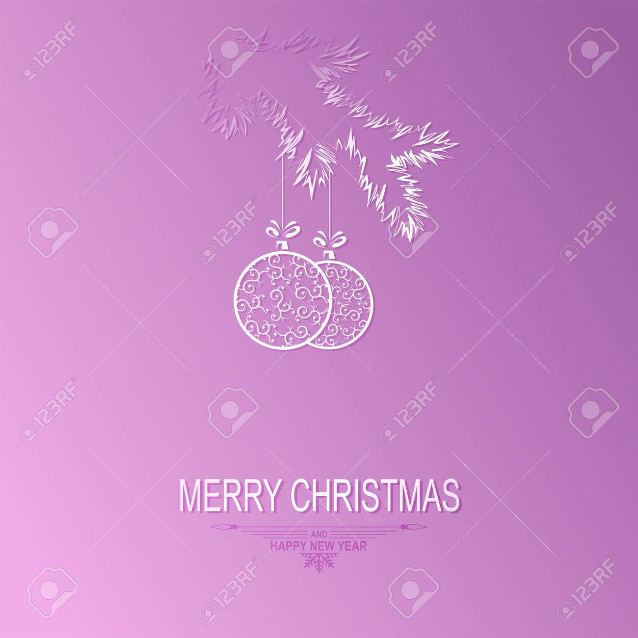 Sagoma Di Un Ramo Di Albero Di Natale Con Le Palle In Stile Retrò Su