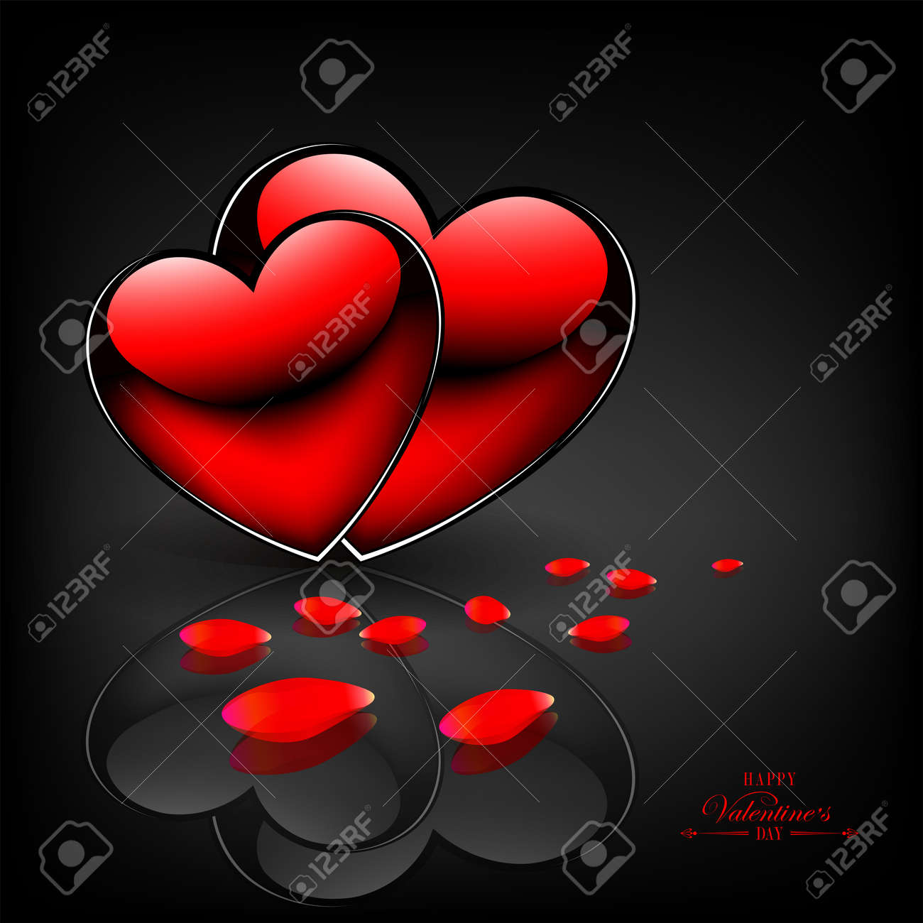 Two red hearts, rose petals and with a mirror image