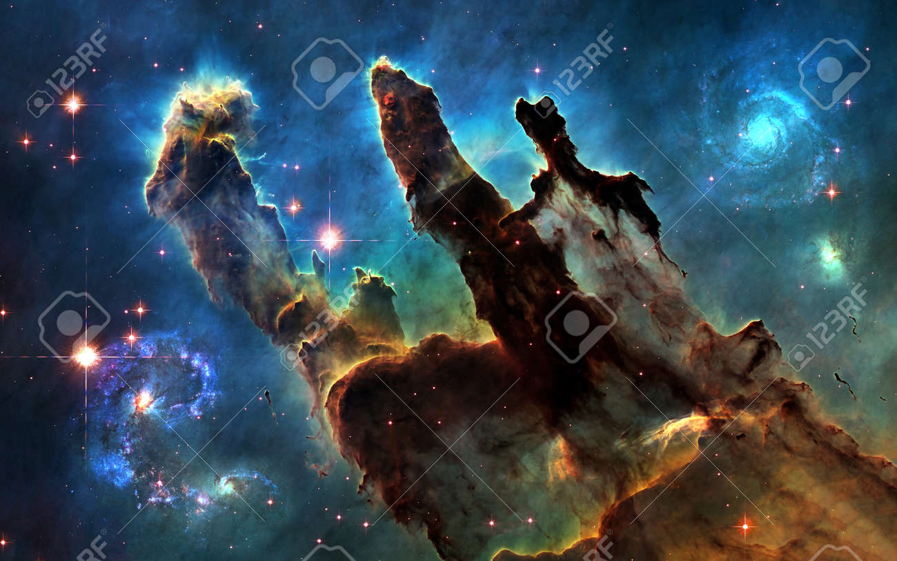 103252092 deep space pillars of creation and galaxies image in 5k resolution for desktop wallpaper