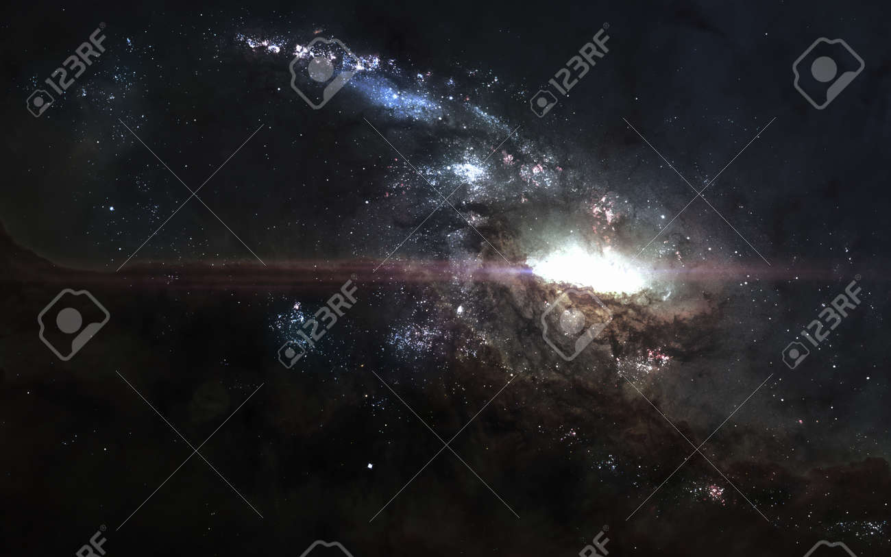 Bright Galaxy In Deep Space Cosmic Landscape Science Fiction