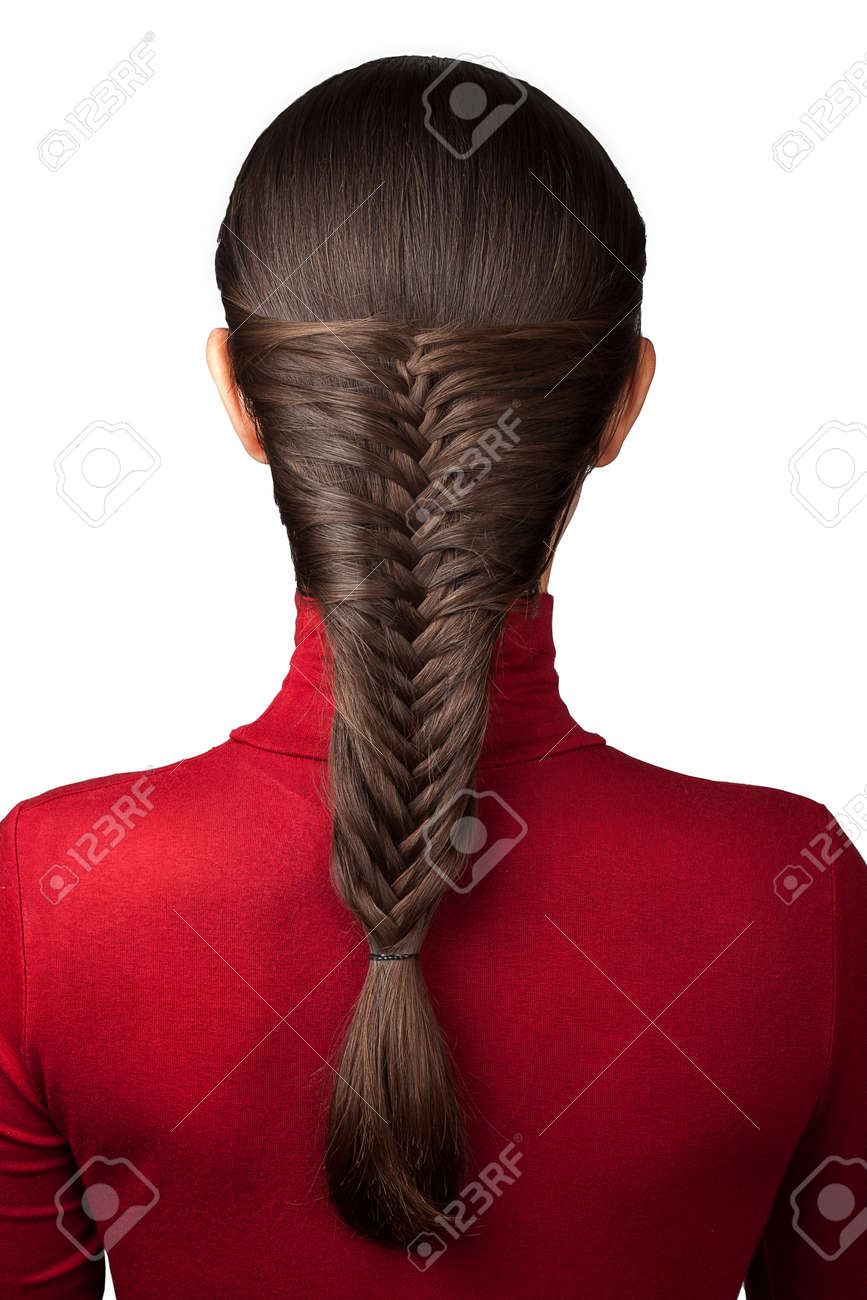 elegance hairstyle french braid isolate on white - 47328441