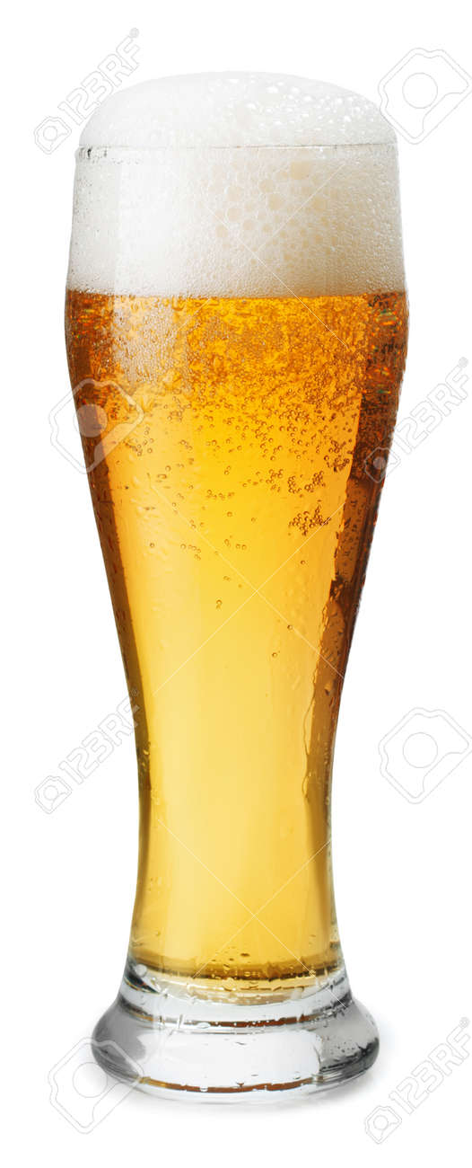 Frosty glass of light beer with foam isolated on a white background - 55148332