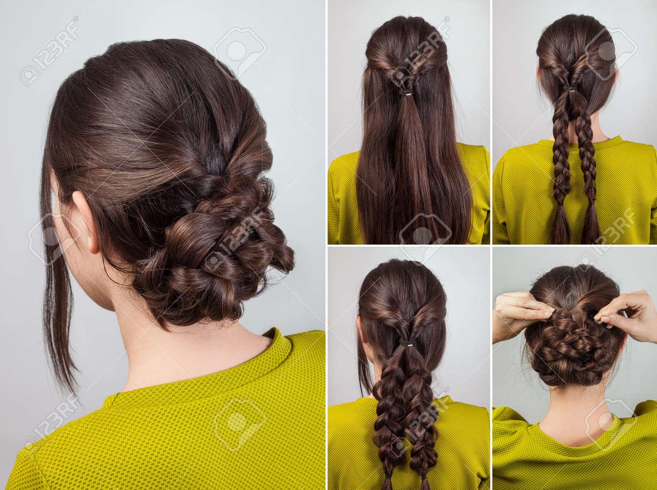Simple Elegant Hairdo For Long And Medium Hair Tutorial Stock Photo