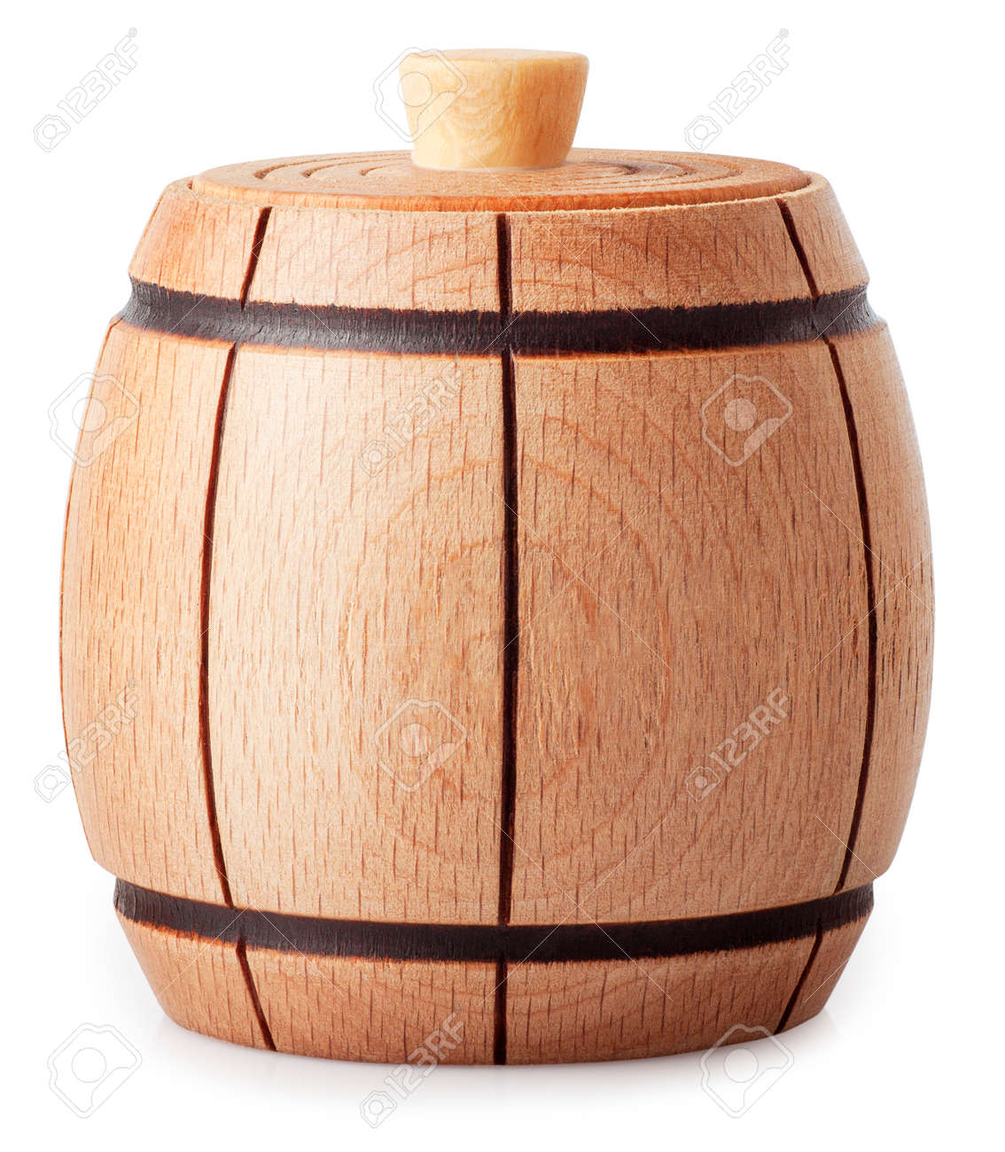 Small Wooden Barrel Covered Isolated On White Background
