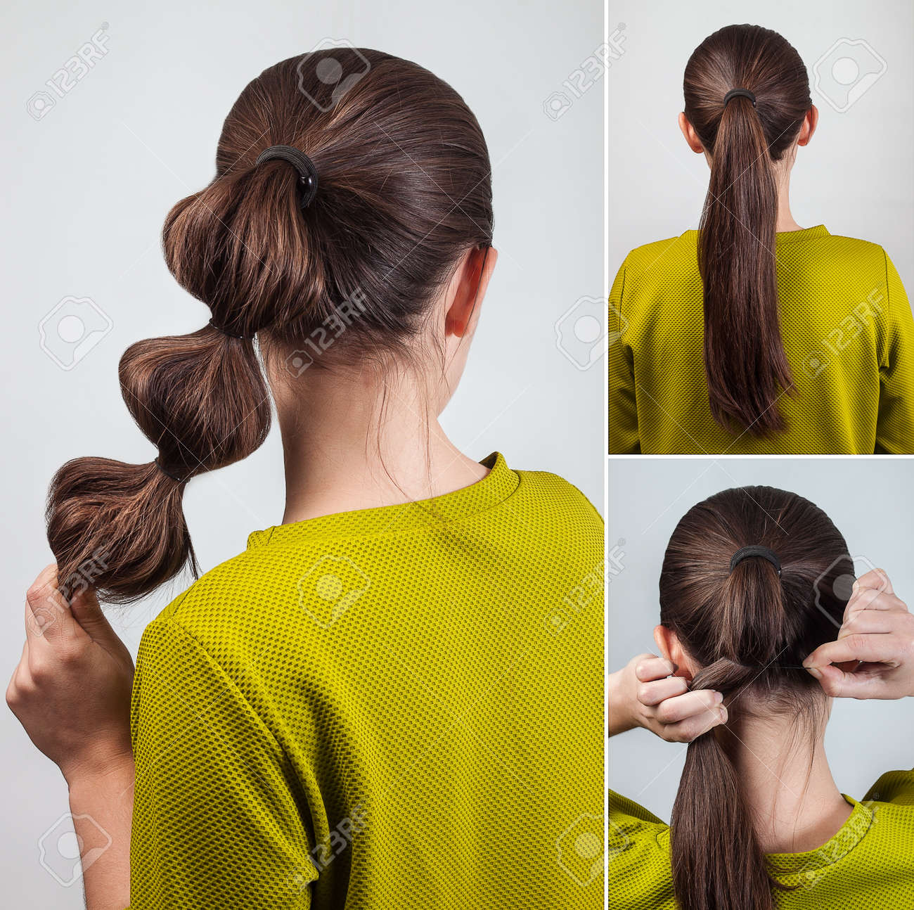 Simple Casual Hairstyle Pony Tail With Scrunchy Tutorial Stock Photo