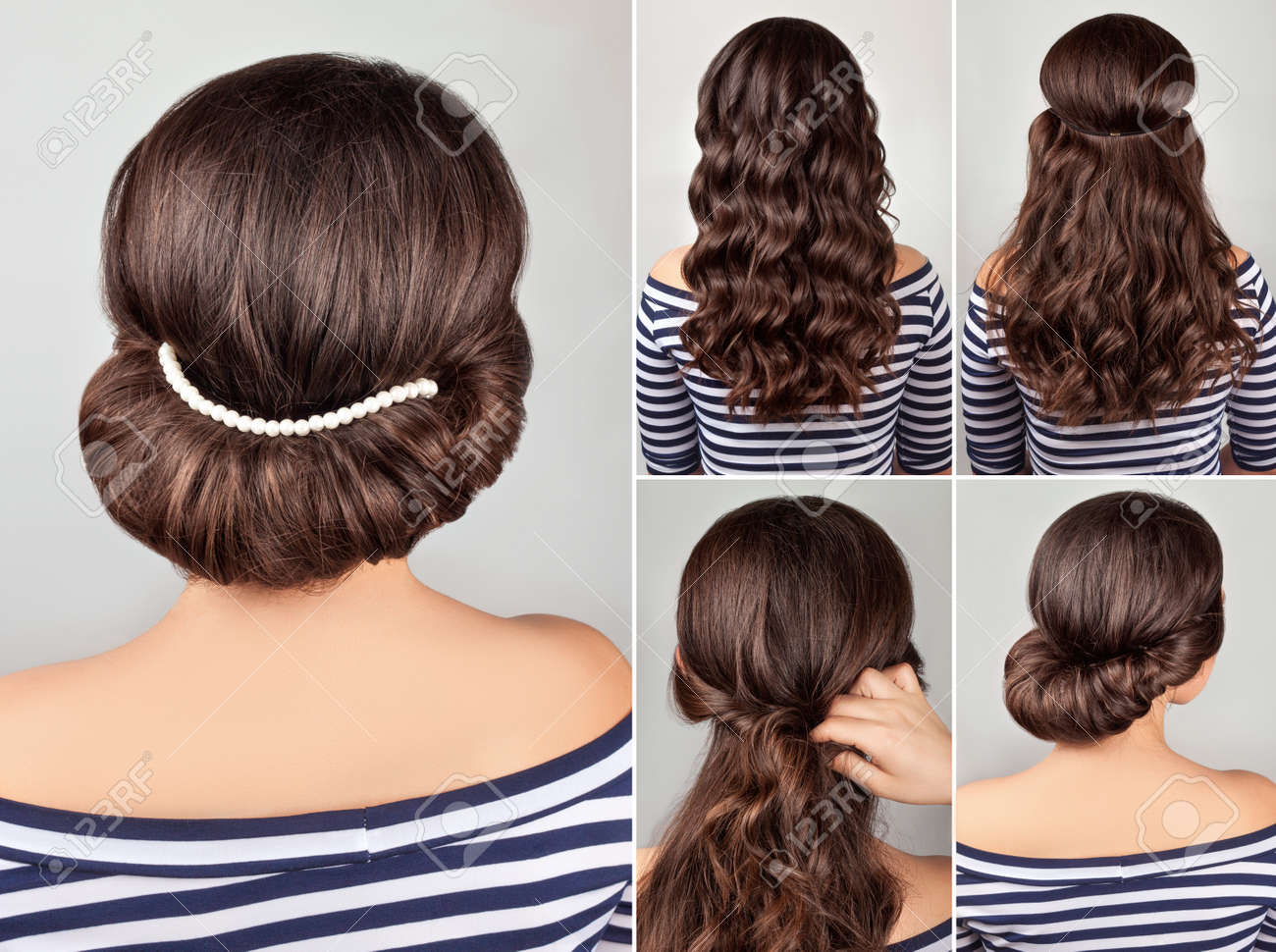 greek style hairdo with string of pearls tutorial. Hairstyle for long hair. Sea style. - 58145245