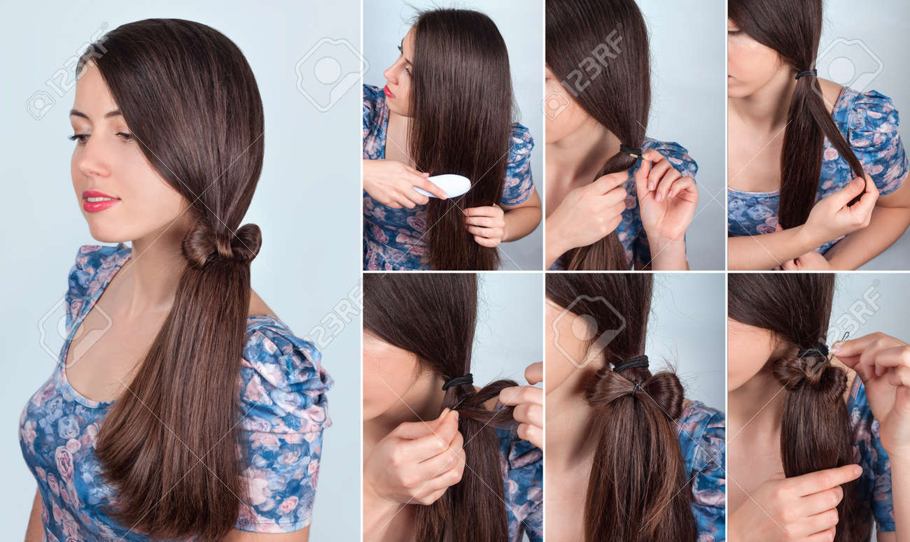 Simple Hairstyle Self Tail With Bow For Long Hair Tutorial ...