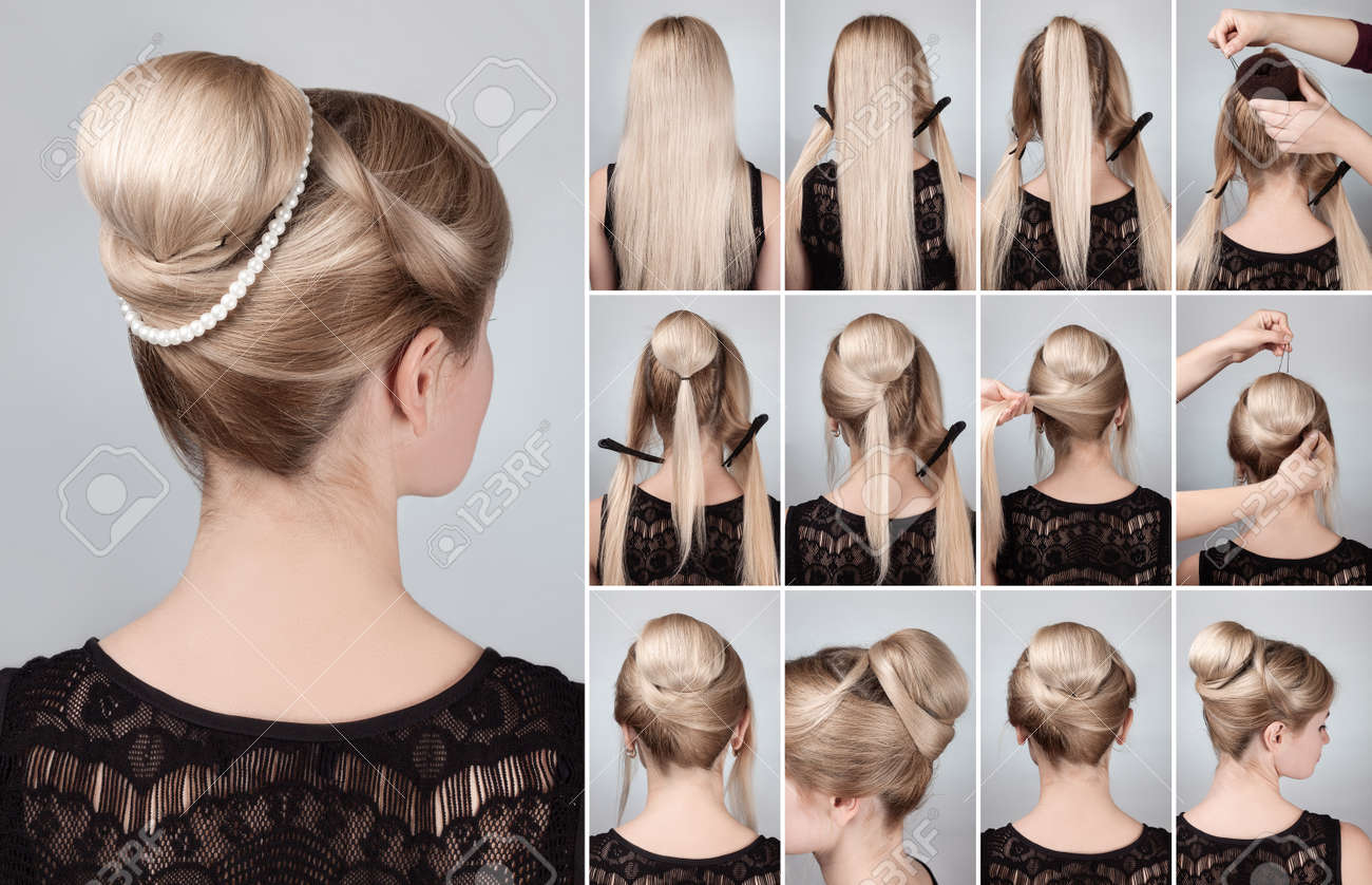 Hairstyle tutorial elegant bun with chignon and string of pearls. Woman blonde with retro hairdo bun - 58145252