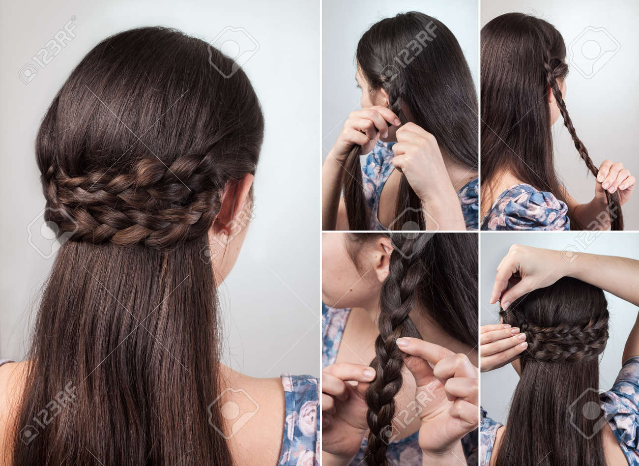 Simple Hairstyle For Long And Medium Loose Hair Tutorial Stock Photo ...