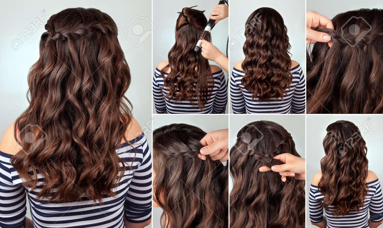 Frisur Ascade Zopf Auf Dem Lockigen Haar Tutorial Frisur Für Lange