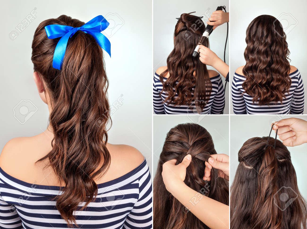 Queue Simple Coiffure Poney Sur Tutoriel De Cheveux Bouclés Coiffure Pour Cheveux Longs Style Mer