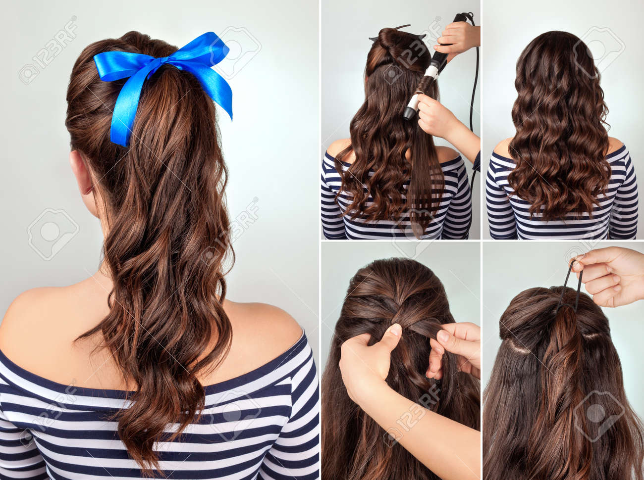 Simple Hairstyle Pony Tail On Curly Hair Tutorial. Hairstyle.. Stock ...