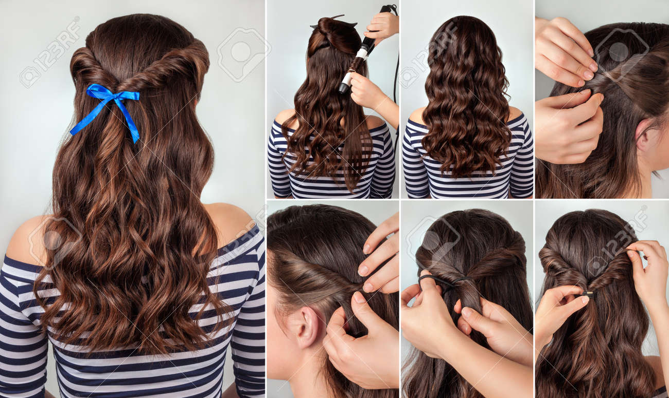 Twisted Hairdo On Curly Hair Tutorial Hairstyle For Long Hair
