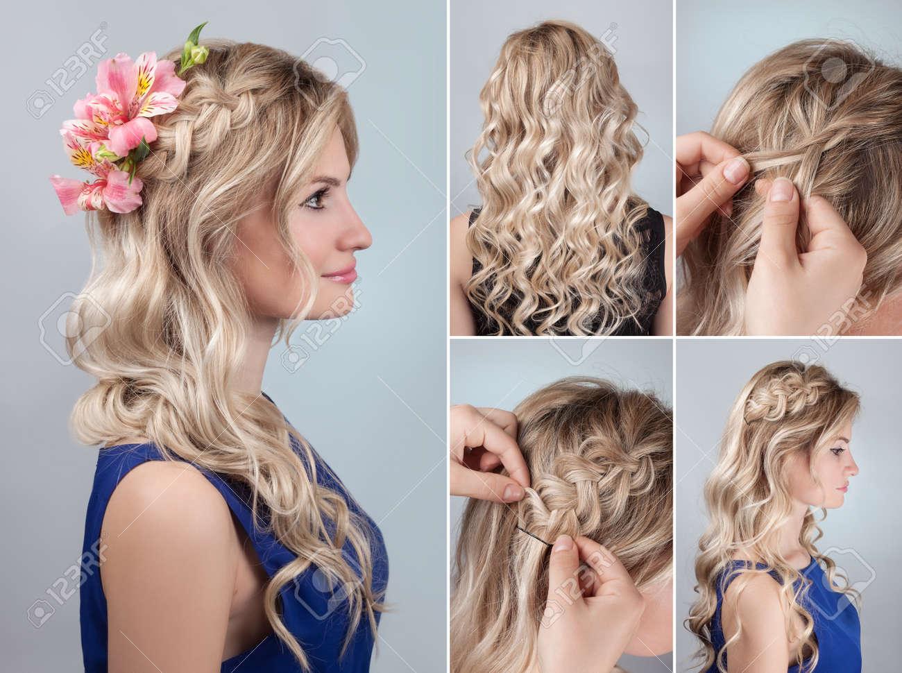 foto de archivo sencillo peinado de trenza con el pelo rizado tutorial peinado noche romntica para el pelo largo modelo rubio peinado para la dama de