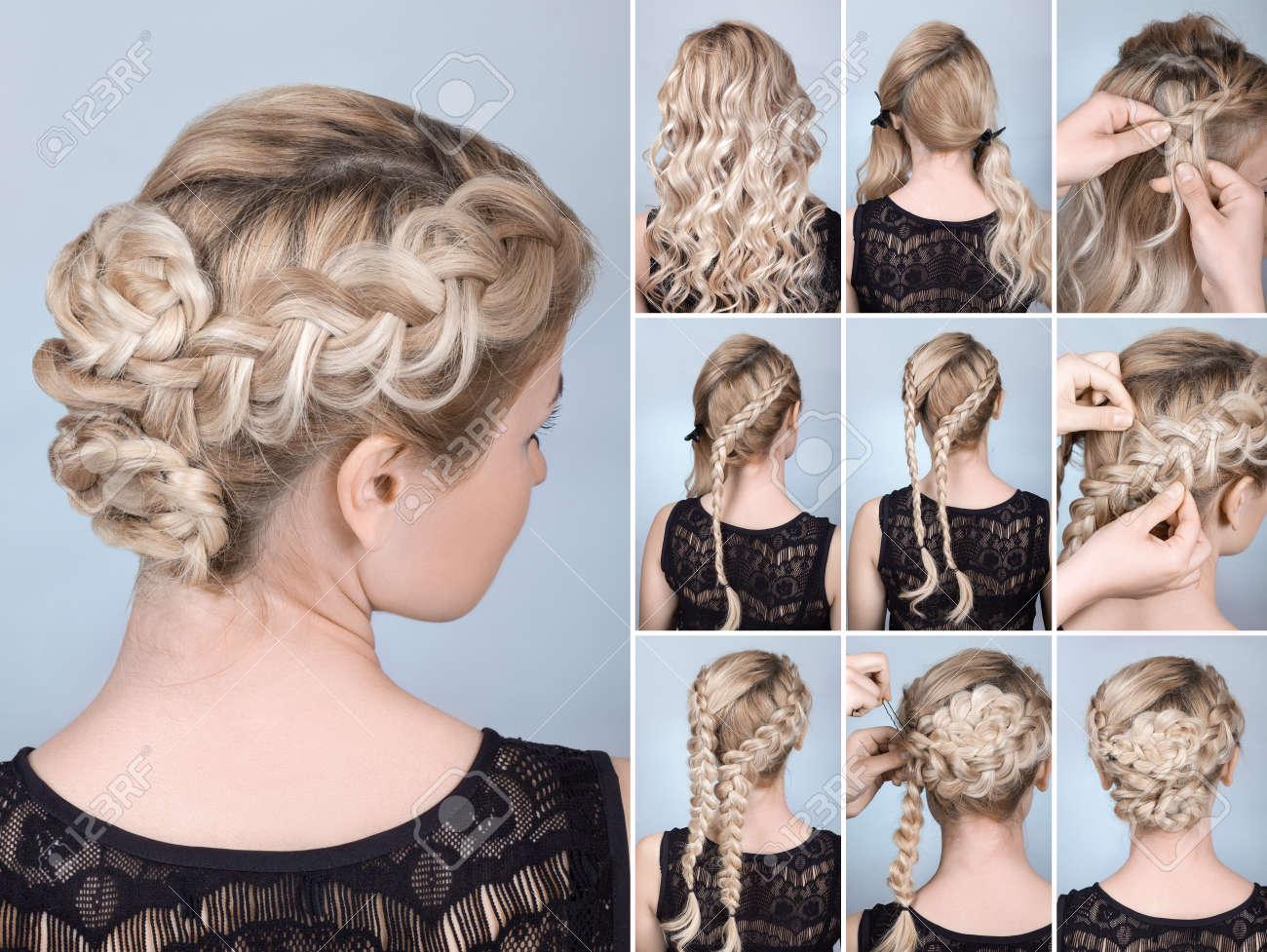 hairstyle braid on blonde model tutorial. Hairdo for long hair - 58146069