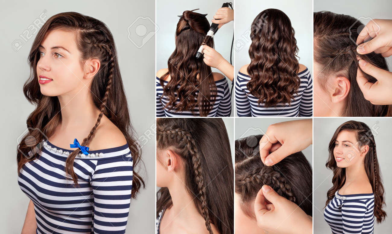 One Side Hairstyle On Curly Hair Tutorial Hairstyle For Long