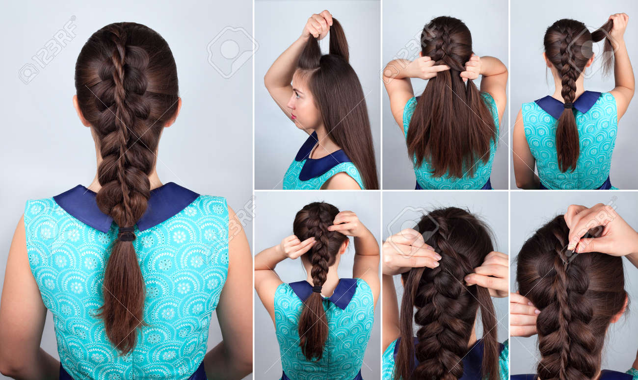 Simple Braid Hairstyle Tutorial Plait Hairstyle For Long Hair Stock