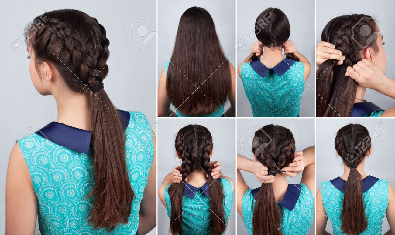 simple braid hairstyle tutorial. Easy hairstyle for long hair. Hairstyle tutorial two braids with pony tail. Hair tutorial - 58145903