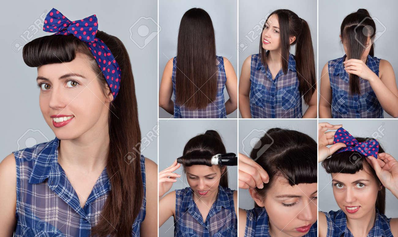 Einfache Schwanz Tutorial Frisur Pony für die Frau. Frisur für lange Haare.  Pin-up-Stil