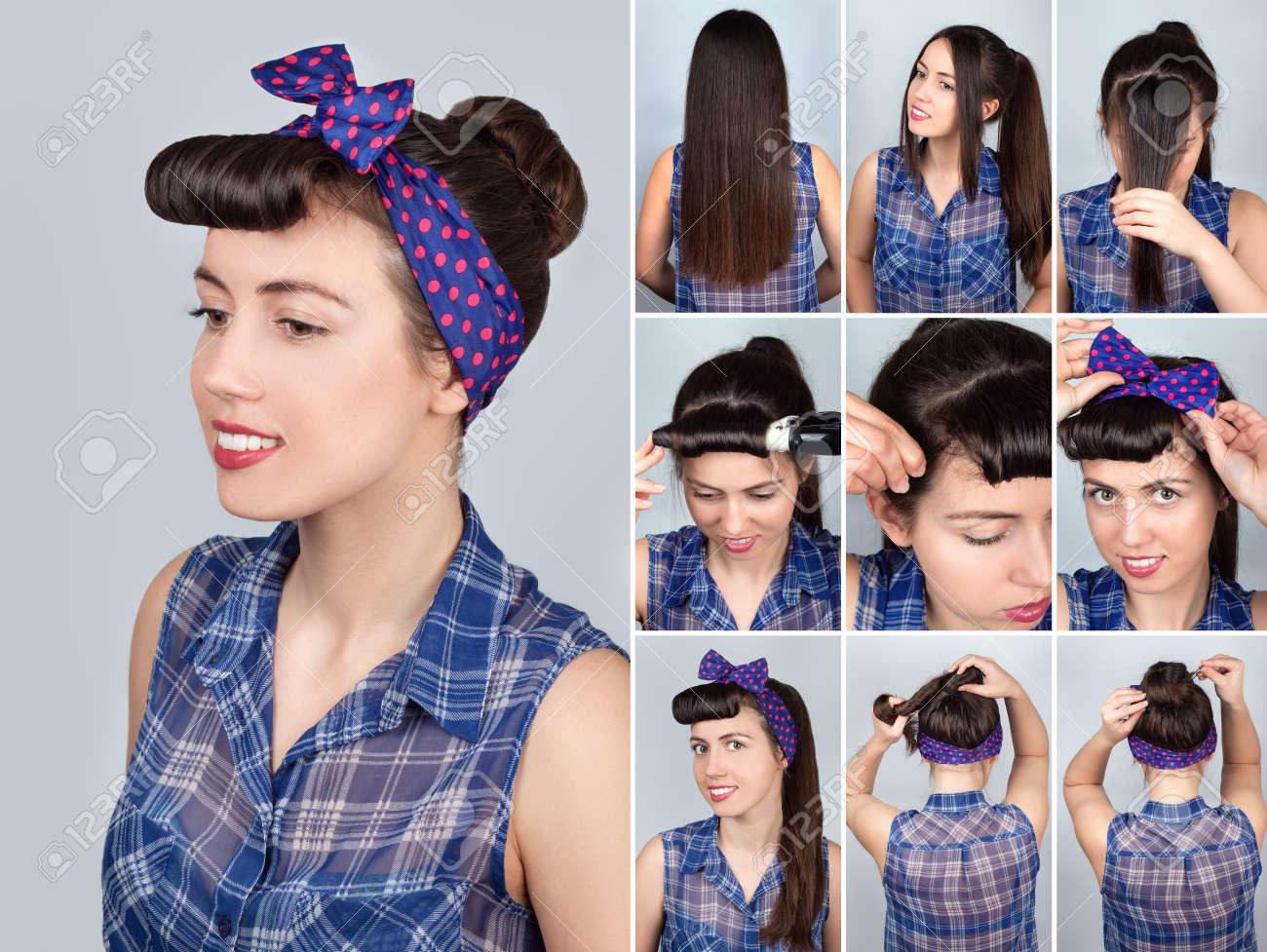 Einfache Frisur bun-Tutorial für die Frau. Frisur für lange Haare.  Pin-up-Stil