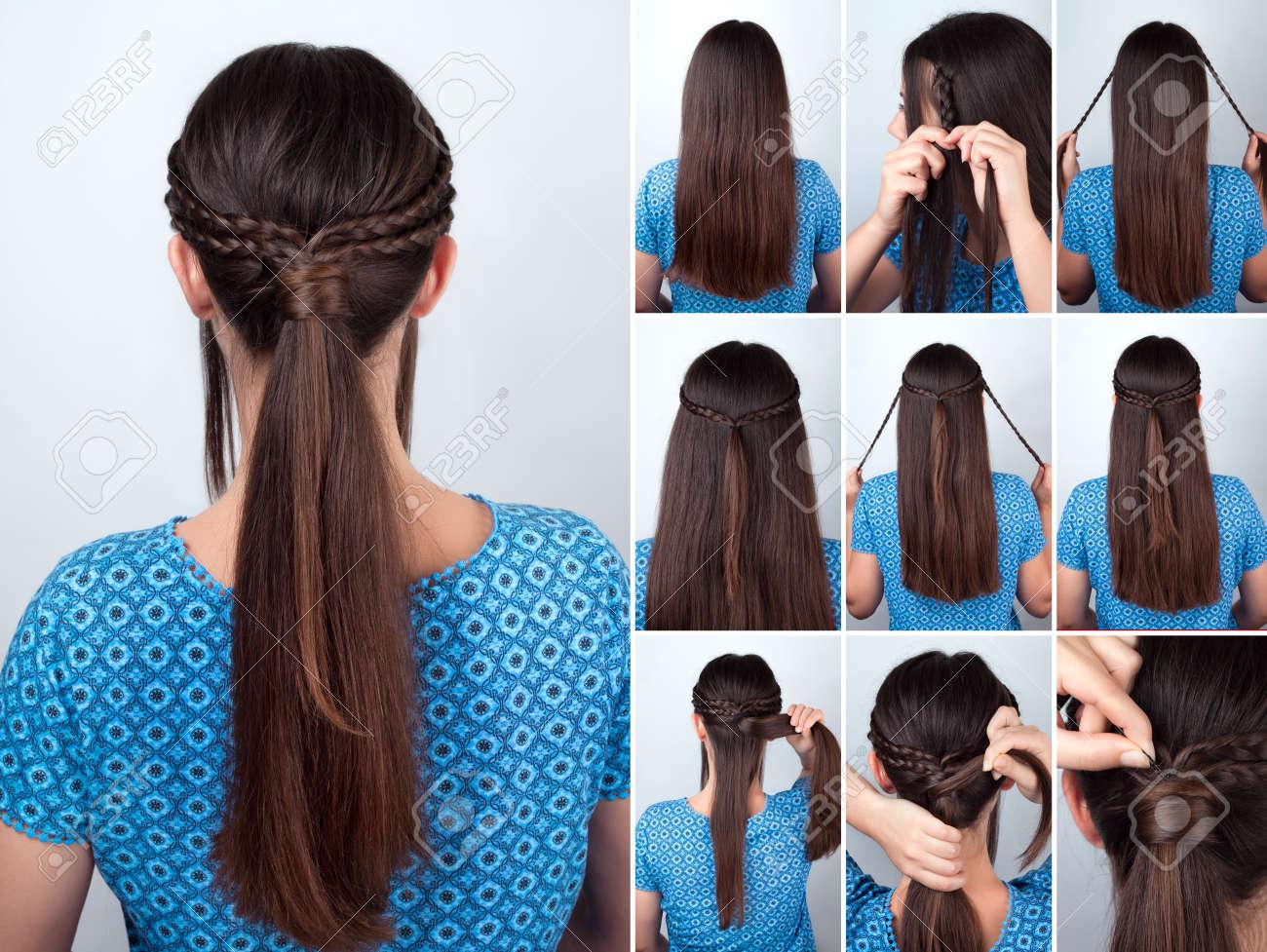 Einfache Frisur Pferdeschwanz Mit Zopfen Haar Tutorial Frisur Fur