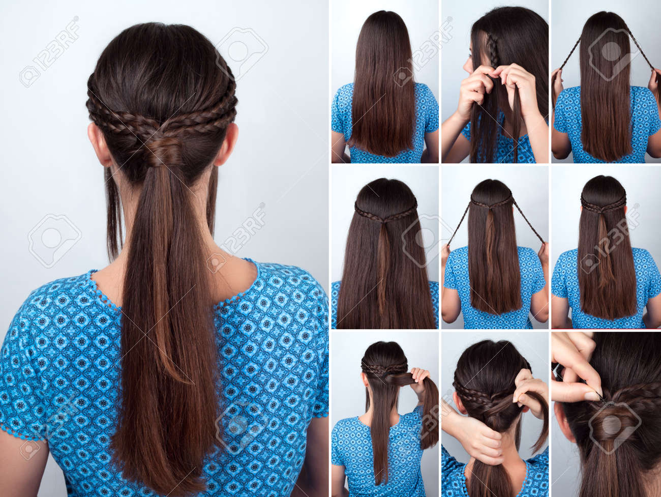 Simple Hairstyle Pony Tail With Braids Hair Tutorial. Hairstyle For Long  Hair. Hairstyle Tutorial