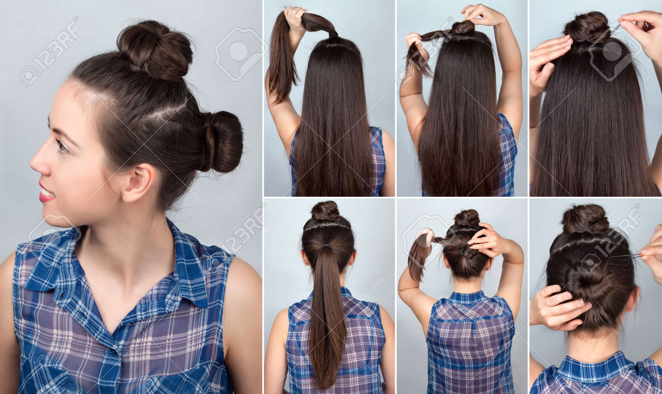 Simple Hairstyle Two Funny Twisted Bun Tutorial. Hairstyle ...