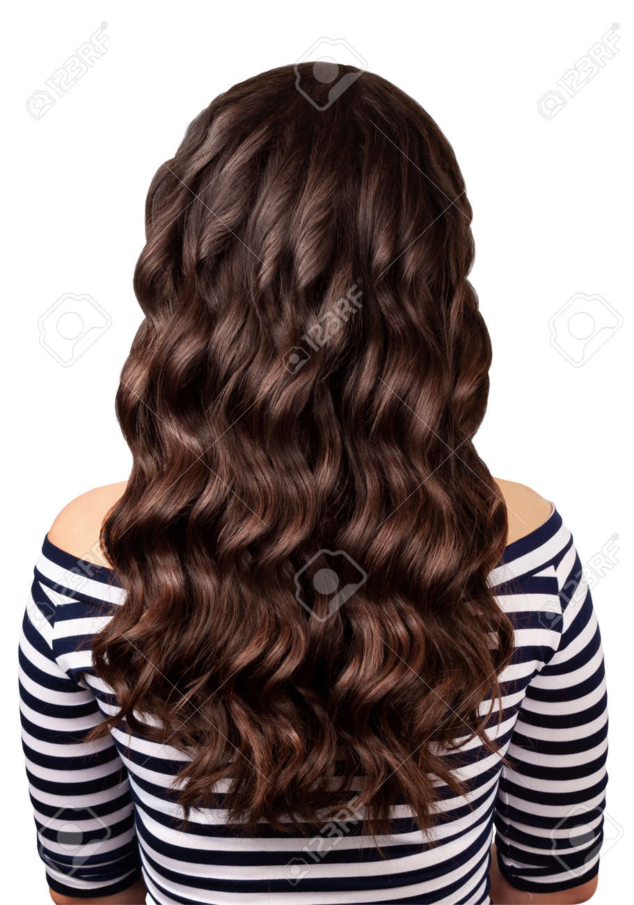 Back View Of Brunette Woman With Long Dark Curly Hair Isolated