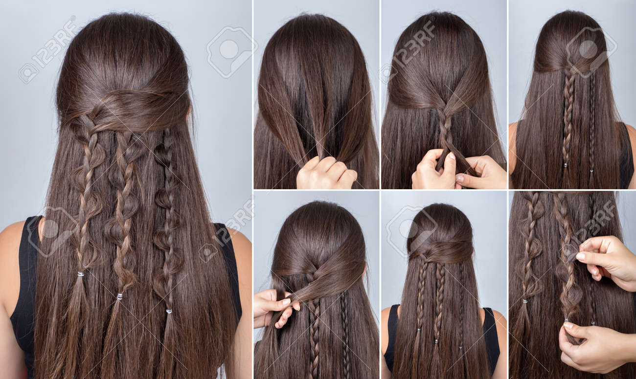 Process of weaving braid hairstyle for long hair boho style hairstyle tutorial process of weaving braid hairstyle for long hair boho style hairstyle three boho baditri Choice Image
